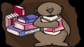 Drawing of a groundhog reading a book in his burrow.