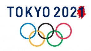 Tokyo 2020 above Olympic rings, with the 0 crossed out and a 1 placed over it.