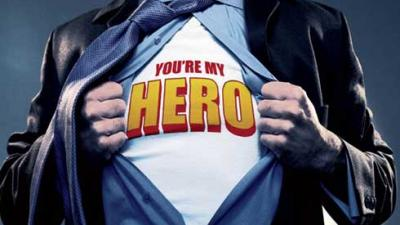 """man parting dress shirt to reveal t-shirt that reads """"you're my hero"""""""