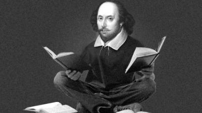 William Shakespeare, as a hipster, ponders books