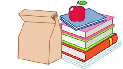 drawing of brown bag, apple and books