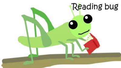 cartoon of a cricket with a book