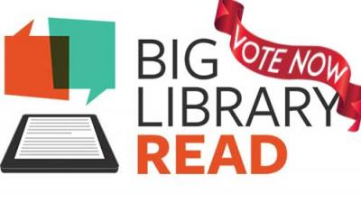 orange and teal conversation bubbles above an ereader, vote now banner