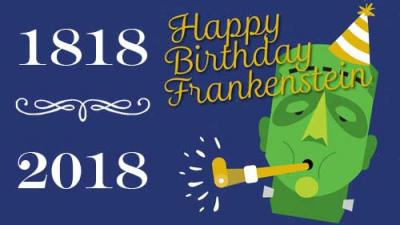 Cartoon of frankenstein's monster blowing a horn with a party hat