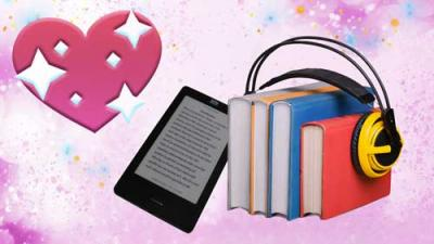 Graphic of an ereader, books with headphones and a pink heart.