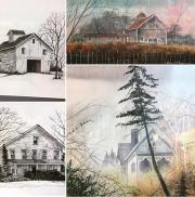 Collage of landscapes and barn scenes in pencil and wash