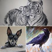 Collage of animal images done with chalk and pencils