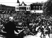 A view of the crowd assembled on the courthouse lawn, listening to Gen. Dwight D
