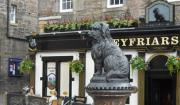 Life-sized statue of Greyfriars Bobby in Edinburgh, Scotland.