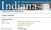 screenshot of the Indiana Statewide Voter Registration System