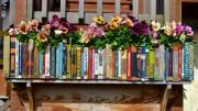 Photo of a flower planter made to look like a bookshelf