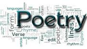 graphic made of various words about poetry
