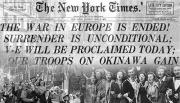 Image of the front page of the New York Times from May 8 1945.