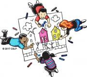 Drawing of kids coloring on a giant poster together.