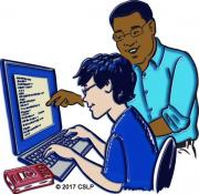 Drawing of teen and adult typing at a computer with a code book nearby.