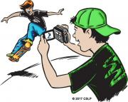 Drawing of a teen videotaping his friend skateboarding.