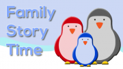 Cartoon of a family of penguins on a snow hill