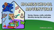 Graphic of a rocket, a treasure map, books, chemistry, music all inside a house.