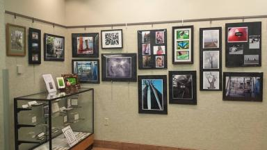shot of wheatfield art wall with Allen's photos