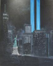 Conceptual painting of NYC tribute to the Twin Towers