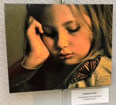 Photo of the artist's granddaughter with a monarch on her shoulder