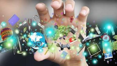 hand grasping at information icons