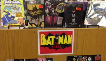 June Batman display at the Rensselaer Library.