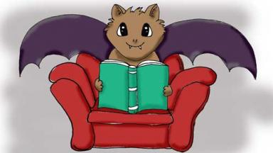 cartoon of a bat in a chair reading a book