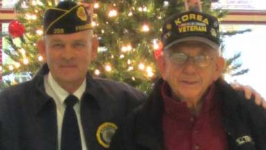 Veterans at the Hero Tree at the Rensselaer Library in 2013.