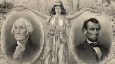 Drawing of a young woman presenting portraits of Washington and Lincoln.