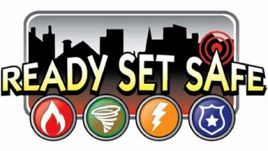 Logo with city skyline and icons of fire, tornado, lightning and police.