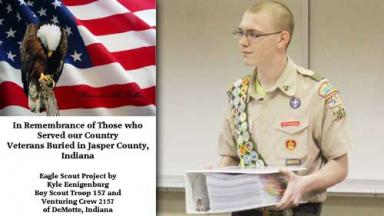 Book cover and photo of young man in scout uniform holding a foot-thick binder.