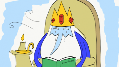 Drawing of the Ice King from Adventure Time reading a book titled Fiona + Cake.