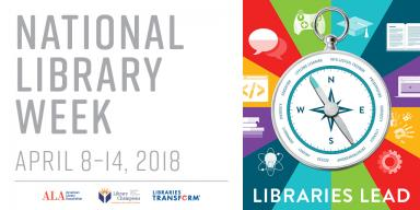 Libraries Leas National Library Week 2018 logo, a colorful compass
