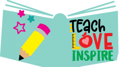 Graphic of book, pencil, ruler and apple with heart