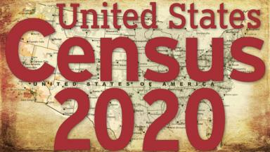U.S. Census 2020 logo over antique-looking map of the United States