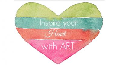 Graphic of a watercolor heart with four different colors.