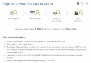 screenshot of indiana voter registration page