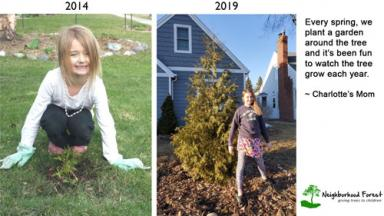 Photos of a girl with a tree in 2014 and 2019 and a quote from her mom.