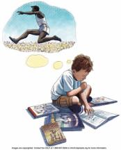 Drawing of boy reading books and thinking about a track runner.