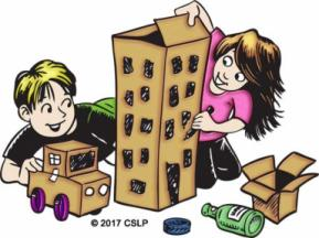 Drawing of kids building a city out of recycled materials.