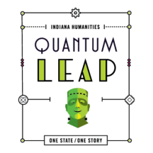 Indiana Humanities Quantum Leap Logo with Frankenstein Monster Icon