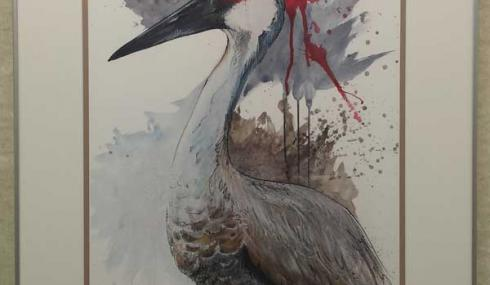 Closeup of a watercolor of a  sandhill crane.