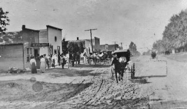 Main Street DeMotte in the early 1900s